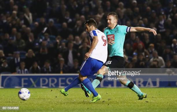 Sam Baldock of Brighton and Hove Albion scores their second goal during the Sky Bet Championship match between Brighton Hove Albion and Derby County...