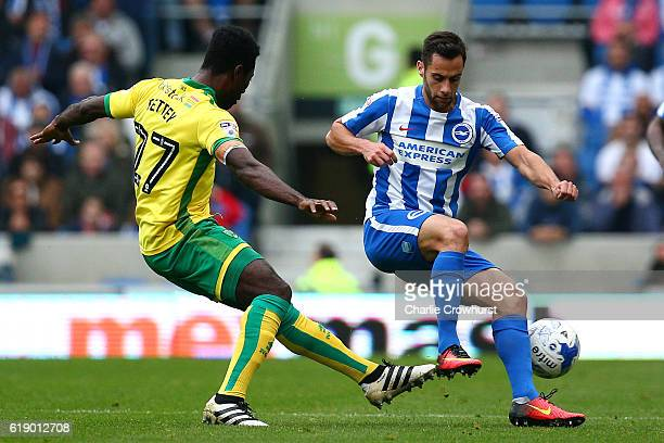 Sam Baldock of Brighton is tackled by Alex Tettey of Norwich during the Sky Bet Championship match between Brighton Hove Albion and Norwich City at...