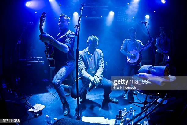Sam Barret Richie Prynne Ryan Thomas and Dan Edwards of the British band CC Smugglers perform live during a concert at the Privatclub on July 13 2016...
