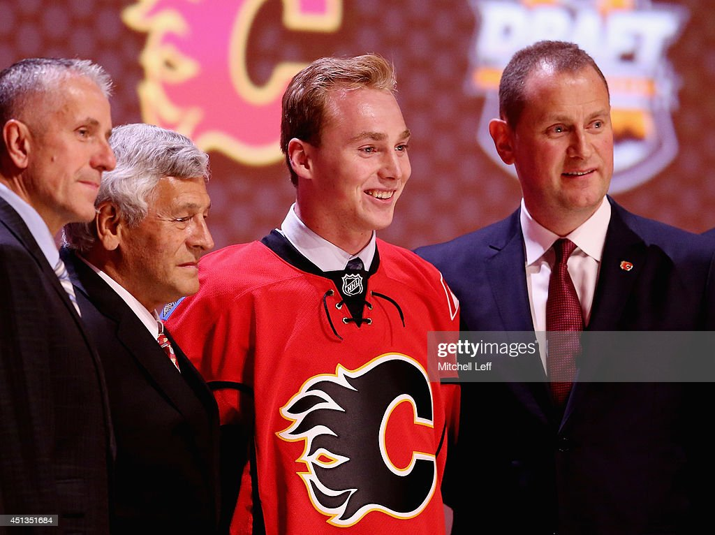 Sam Bennett is selected fourth overall by the Calgary Flames during the first round of the 2014 NHL Draft at the Wells Fargo Center on June 27, 2014 in Philadelphia, Pennsylvania.