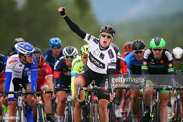 Sam Bennett of Ireland and BoraArgon18 celebrates winning stage two of the 2015 Arctic Race of Norway a 1625km stage between Evenskjer and Setermoen...
