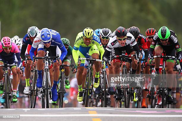 Sam Bennett of Ireland and BoraArgon18 sprints for the finishline on his way to winning stage two of the 2015 Arctic Race of Norway a 1625km stage...