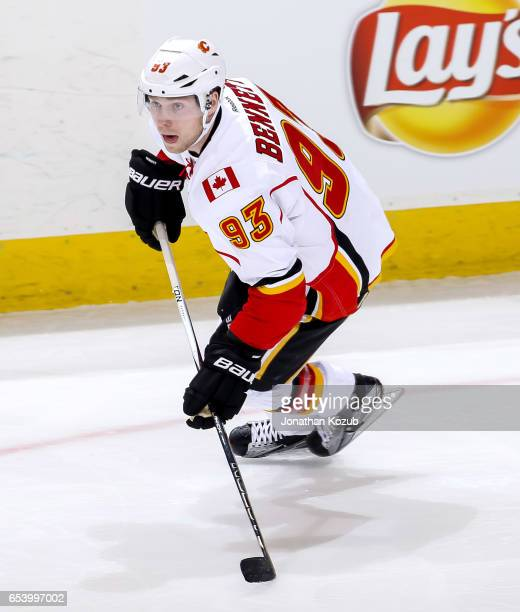 Sam Bennett of the Calgary Flames follows the play down the ice during first period action against the Winnipeg Jets at the MTS Centre on March 11...