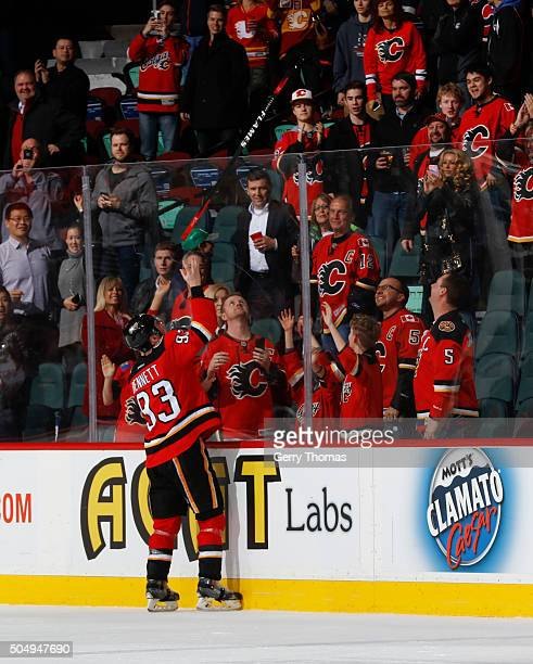 Sam Bennett of the Calgary Flames is awarded 1st Star of the game against the Florida Panthers at Scotiabank Saddledome on January 13 2016 in Calgary...