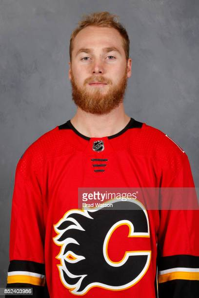 Sam Bennett of the Calgary Flames poses for his official headshot for the 20172018 season on September 14 2017 at the WinSport Winter Sport Institute...
