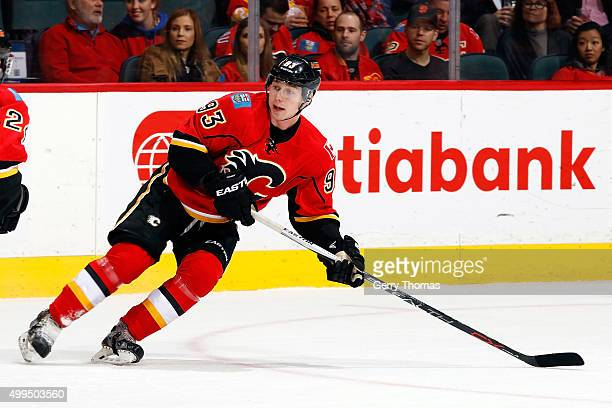 Sam Bennett of the Calgary Flames skates against the Dallas Stars during an NHL game at Scotiabank Saddledome on December 1 2015 in Calgary Alberta...