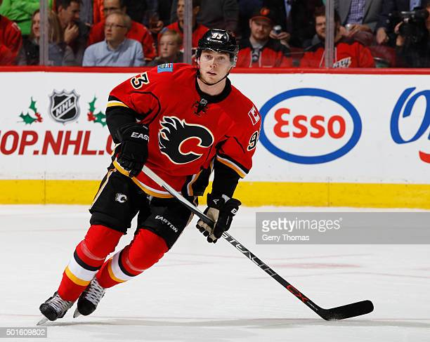 Sam Bennett of the Calgary Flames skates against the San Jose Sharks at Scotiabank Saddledome on December 8 2015 in Calgary Alberta Canada