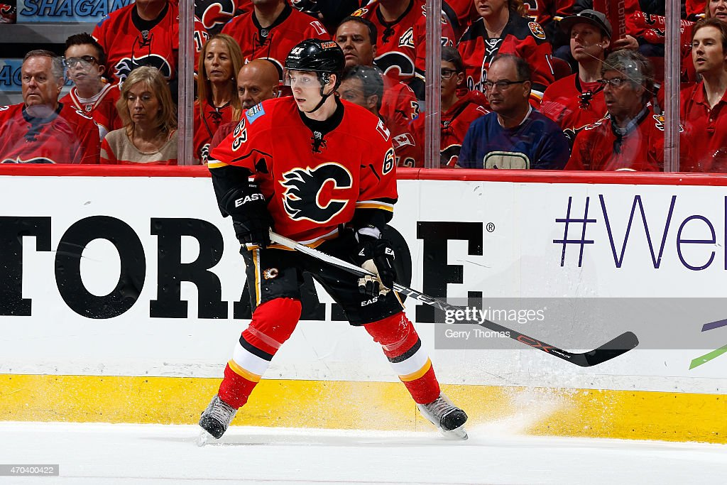 <a gi-track='captionPersonalityLinkClicked' href=/galleries/search?phrase=Sam+Bennett+-+Ice+Hockey+Player&family=editorial&specificpeople=12707460 ng-click='$event.stopPropagation()'>Sam Bennett</a> #63 of the Calgary Flames skates against the Vancouver Canucks at Scotiabank Saddledome for Game Three of the Western Quarterfinals during the 2015 NHL Stanley Cup Playoffs on April 19, 2015 in Calgary, Alberta, Canada.