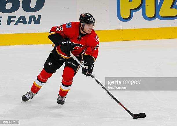 Sam Bennett of the Calgary Flames skates the puck against the Philadelphia Flyers at Scotiabank Saddledome on November 5 2015 in Calgary Alberta...