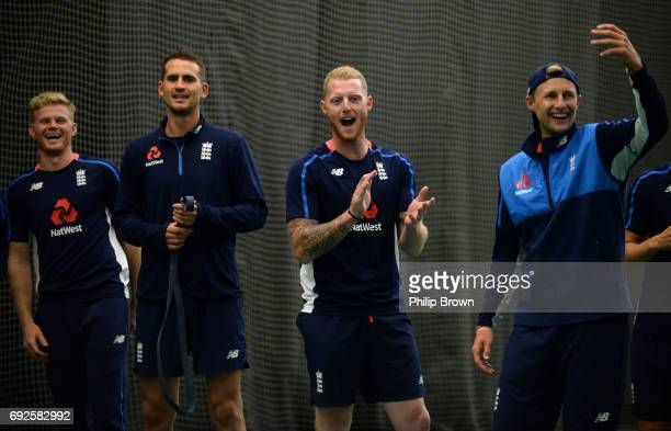 Sam Billings Alex Hales Ben Stokes and Joe Root of England react during a net session at the Swalec Stadium ahead of the ICC Champions Trophy match...