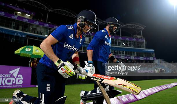 Sam Billings and James Vince runs out to bat during the 3rd One Day International match between Bangladesh and England at Zohur Ahmed Chowdhury...