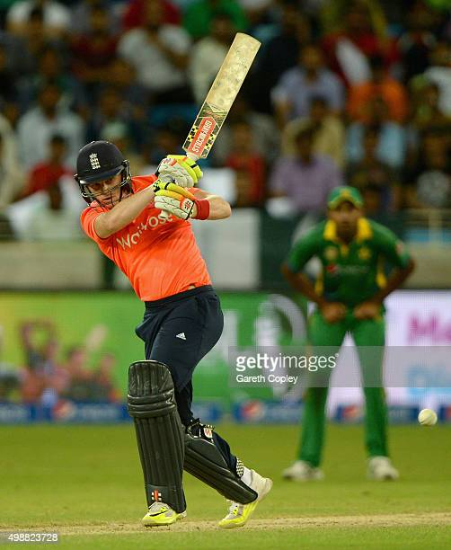 Sam Billings of England bats during the 1st International T20 match between Pakistan and England at Dubai Cricket Stadium on November 26 2015 in...
