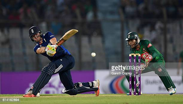 Sam Billings of England bats during the 3rd One Day International match between Bangladesh and England at Zohur Ahmed Chowdhury Stadium on October 12...