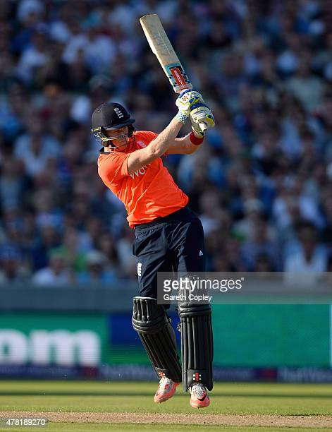 Sam Billings of England bats during the NatWest International Twenty20 match between England and New Zealand at Old Trafford on June 23 2015 in...