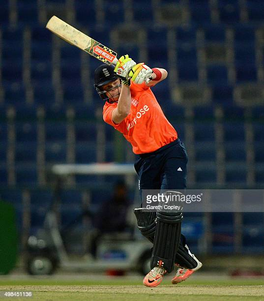 Sam Billings of England bats during the T20 Tour Match between UAE and England at Zayed Cricket Stadium on November 23 2015 in Abu Dhabi United Arab...