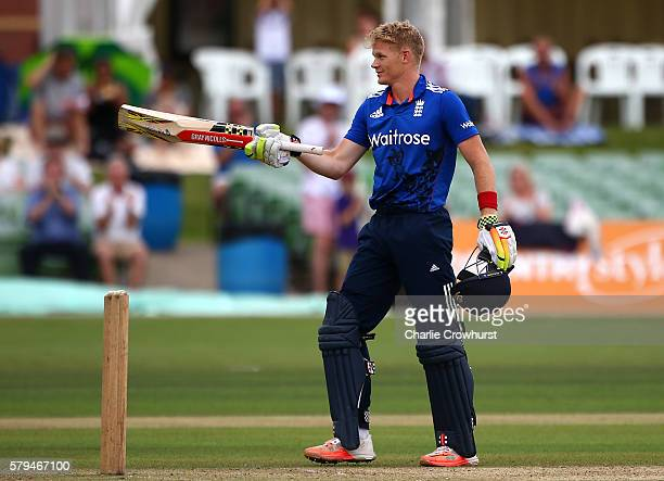 Sam Billings of England celebrates his century during the Triangular Series match between England Lions and Pakistan A at The Spitfire Ground on July...