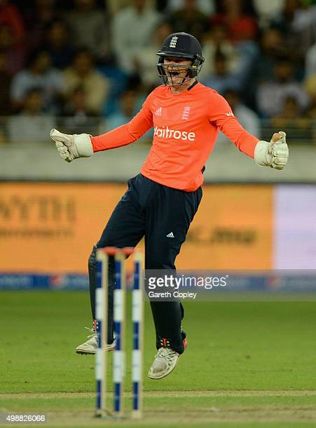 Sam Billings of England celebrates stumping Sohaib Maqsood of Pakistan during the 1st International T20 match between Pakistan and England at Dubai...