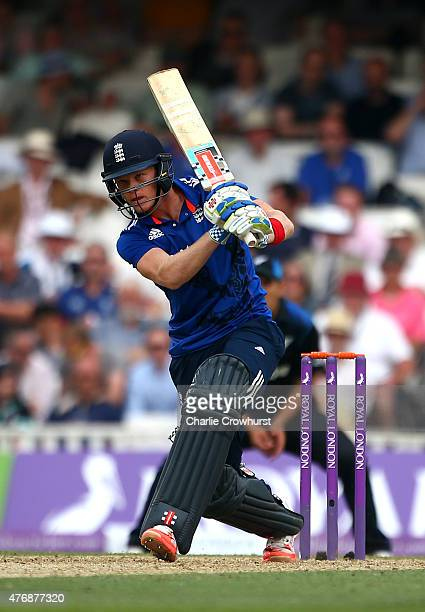 Sam Billings of England hits out during the the 2nd ODI Royal London OneDay Series 2015 match between England and NewZealand at The Kia Oval on June...