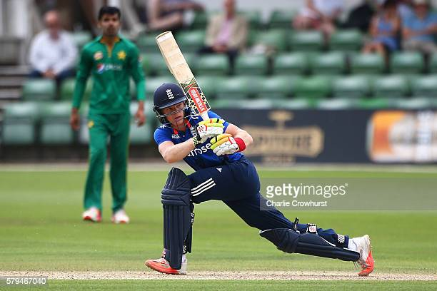 Sam Billings of England hits out during the Triangular Series match between England Lions and Pakistan A at The Spitfire Ground on July 24 2016 in...