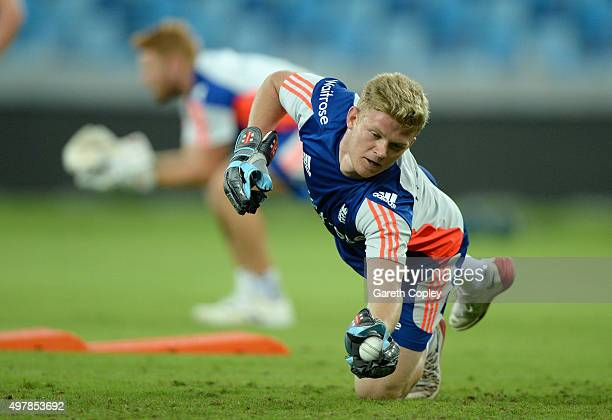Sam Billings of England keeps wicket during a nets session at Dubai Cricket Stadium on November 19 2015 in Dubai United Arab Emirates