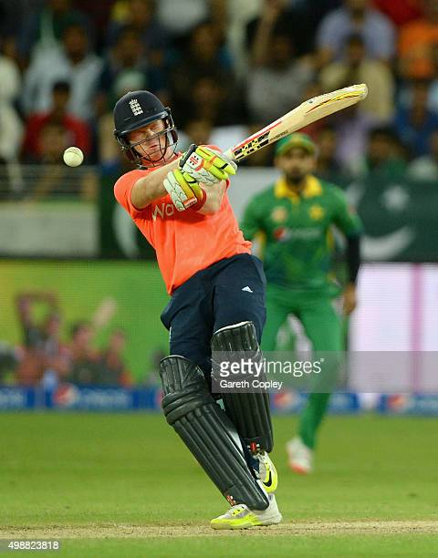Sam Billings of England mistimes a shot during the 1st International T20 match between Pakistan and England at Dubai Cricket Stadium on November 26...
