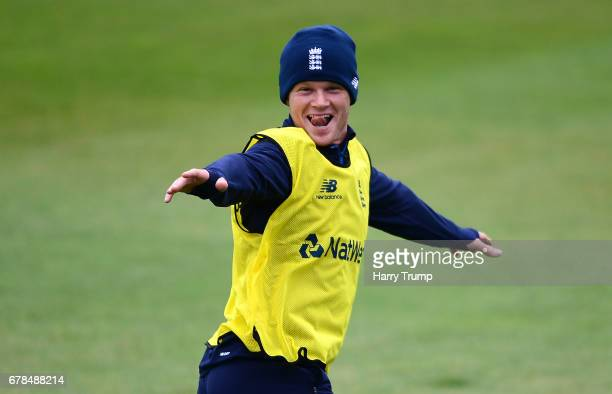 Sam Billings of England reacts during an England Net Session at The Brightside Ground on May 4 2017 in Bristol England