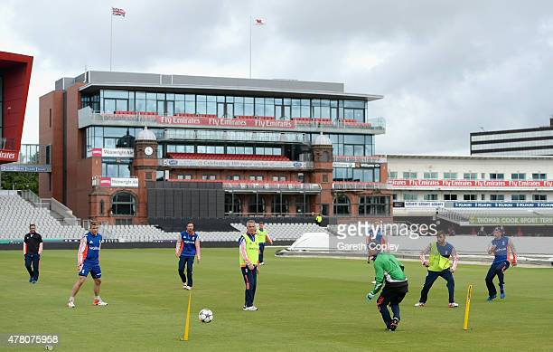 Sam Billings of England shots at goal during a football match ahead of a nets session at Old Trafford on June 22 2015 in Manchester England