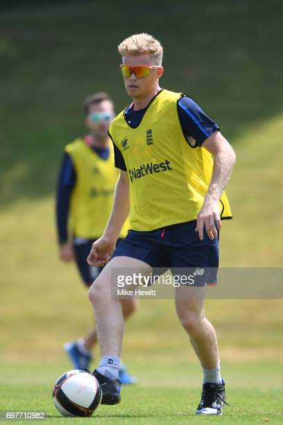 Sam Billings of England shows off his football skills during an England nets session ahead of the Twenty20 International between England and South...
