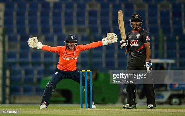 Sam Billings of England successfully appeals for the wicket of Abdul Shakoor of UAE during the T20 Tour Match between UAE and England at Zayed...