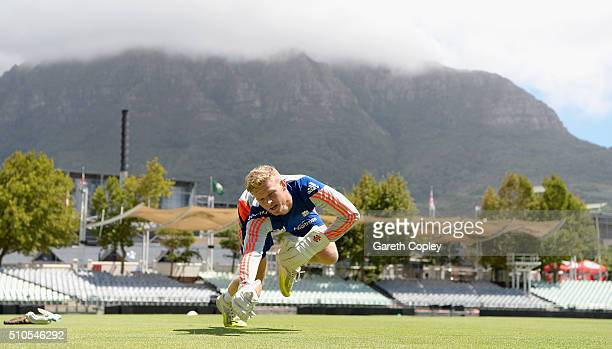 Sam Billings of England takes part in a wicketkeeping drill during a net session at Newlands Cricket Ground on February 16 2016 in Cape Town South...