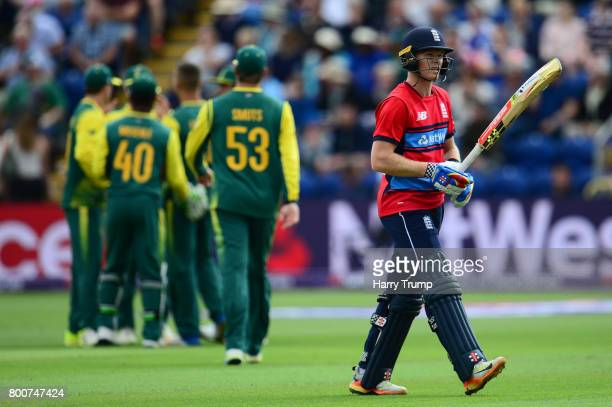 Sam Billings of England walks off after being dismissedduring the 3rd NatWest T20 International between England and South Africa at the SWALEC...