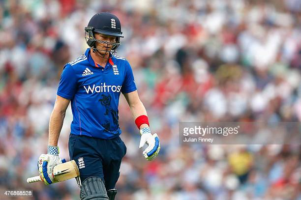 Sam Billings of England walks off after Trent Boult of New Zealand celebrates taking his wicket during the 2nd ODI Royal London OneDay Series 2015 at...