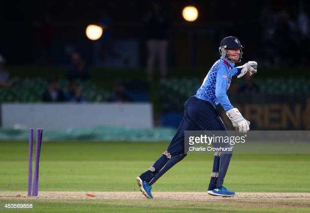 Sam Billings of Kent celebrates a stumping during Royal London OneDay Cup match between Kent Spitfires and Sussex Sharks at The Spitfire Ground St...