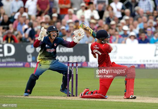 Sam Billings of Kent celebrates as Liam Livingstone of Lancashire loses his wicket during the NatWest T20 Blast quarter final match between Kent...
