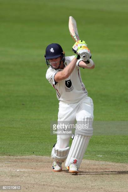 Sam Billings of Kent hits out during day two of the tour match between Kent and West Indies at The Spitfire Ground on August 7 2017 in Canterbury...