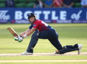 Sam Billings of Kent hits out during the Natwest T20 Blast match between Kent Spitfires and Essex Eagles at The Spitfire Ground St Lawrence Ground on...