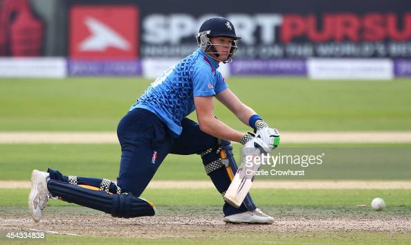 Sam Billings of Kent hits out during the Royal London OneDay Cup Quarter Final match between Kent Spitfires and Gloucestershire at The Spitfire...