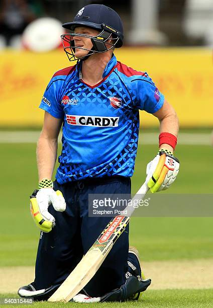 Sam Billings of Kent kneels dejected after being dismissed during the Royal London OneDay Cup match between Essex and Kent at the Ford County Ground...