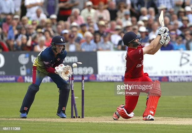Sam Billings of Kent looks on as Karl Brown of Lancashire looses his wicket during the NatWest T20 Blast quarter final match between Kent Spitfires...