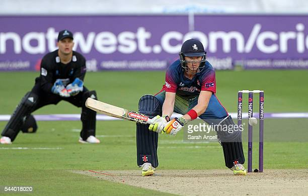 Sam Billings of Kent looks to sweep during the NatWest T20 Blast match between Kent and Sussex at The Spitfire Ground on June 30 2016 in Canterbury...