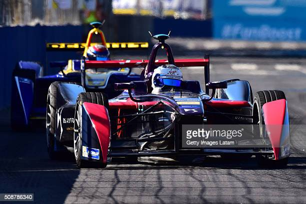 Sam Bird of DS Virgin Racing Formula E Team and Sebastien Buemi of Renault edams during the Buenos Aires ePrix as part of 20152016 FIA Formula E...