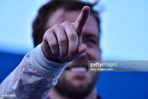 Sam Bird of DS Virgin Racing Formula E Team celebrates after winning the Buenos Aires ePrix as part of 20152016 FIA Formula E Championship at Puerto...