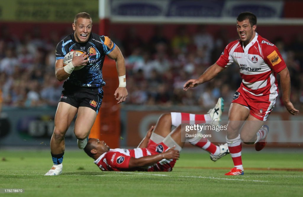 Sam Blanchet of Exeter Chiefs breaks with the ball against Gloucester during the J.P. Morgan Asset Management Premiership Rugby 7's held at Kingsholm Stadium on August 1, 2013 in Gloucester, England.