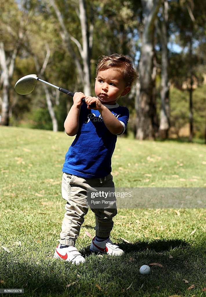 Sam Blewett 'The Little Aussie Golfer' poses duing a portrait session on November 27, 2016 in Adelaide, Australia. At just 22 months old, Sam, the son of former Australian Test Cricketer Greg Blewett and wife Katheryn Blewett, has become an international star as social media videos of his golfing skills and antics have gone viral.