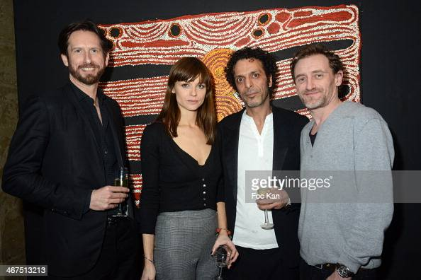 Sam Bobino model Mallory Betting Art Roch Galerie director Morteza Esmaili and Jean Paul Rouve attend the '3 Events in 1 Night' Galerie Art Roch...