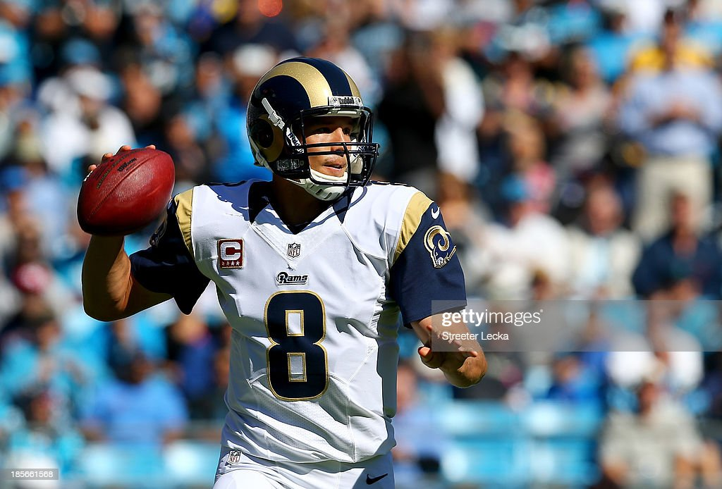 Sam Bradford #8 of the St. Louis Rams during their game at Bank of America Stadium on October 20, 2013 in Charlotte, North Carolina.