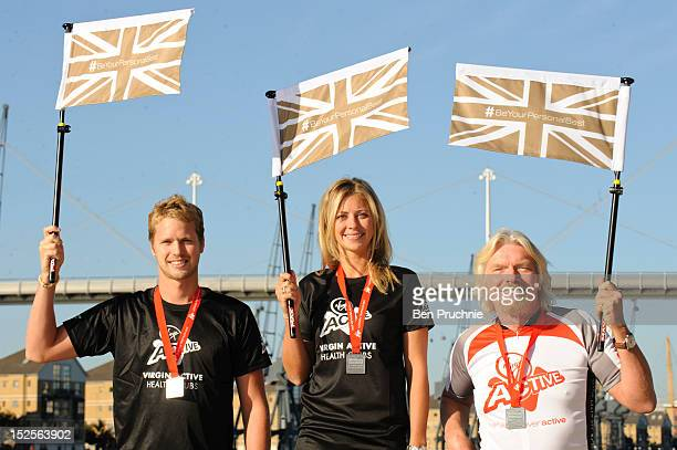 Sam Branson Holly Branson and Sir Richard Branson attend a photocall ahead of the Virgin Active London Triathlon at ExCel on September 22 2012 in...