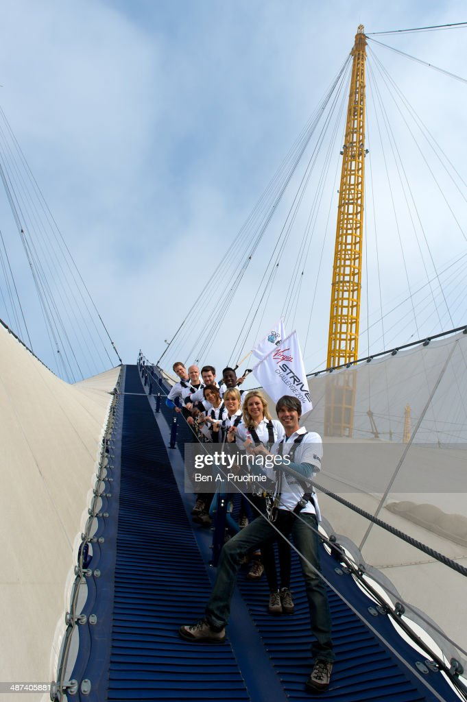 Sam Branson, Noah Devereux, Jack Whitehall, Jermain Jackman, Marion Bartoli, Isabella Calthorpe, Holly Branson and Brian Cox attend a photocall to launch the Virgin STRIVE Challenge at 02 Arena on April 30, 2014 in London, England.