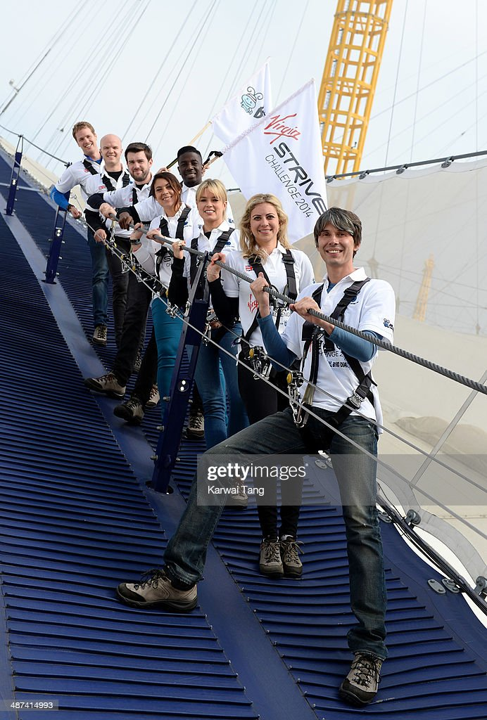 Sam Branson, Noah Devereux, Jack Whitehall, Jermain Jackman, Marion Bartoli, Isabella Calthorpe, Holly Branson and Brian Cox attend a photocall to launch the Virgin STRIVE Challenge held at the 02 Arena on April 30, 2014 in London, England.
