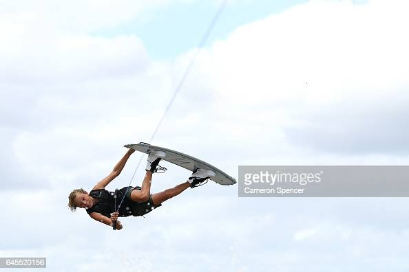 Sam Brown competes in the NSW Wakeboarding State Titles at Govenor Phillip Park in Windsor on February 26 2017 in Sydney Australia